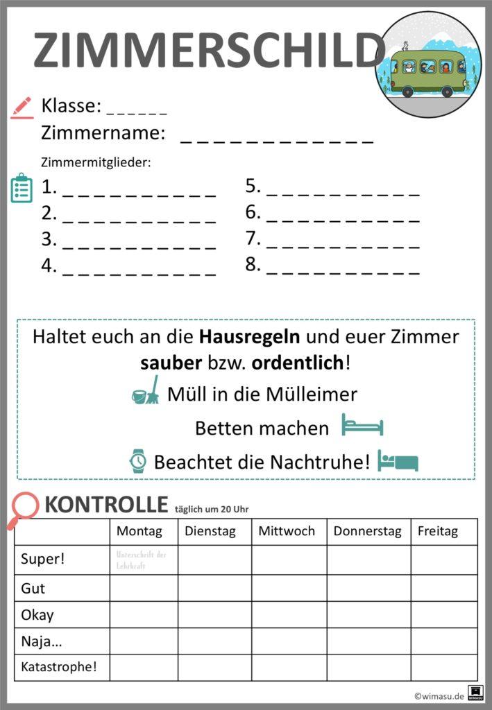 Klassenfahrt Zimmertürschild wimasu.de