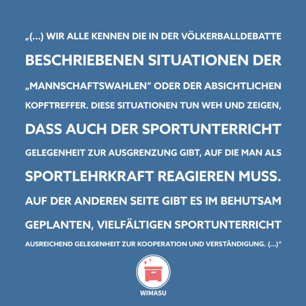 Wimasu Völkerballdebatte Sportunterricht 2