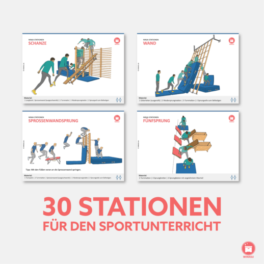 Ninja Warrior Stationen 30 Stationskarten Sportunterricht9