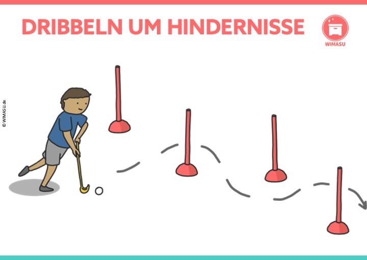 Unihockey Station für die Grundschule und Sekundarstufe 1 Dribbeln