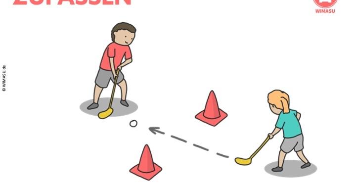 Unihockey Station für die Grundschule und Sekundarstufe 1 - Passen